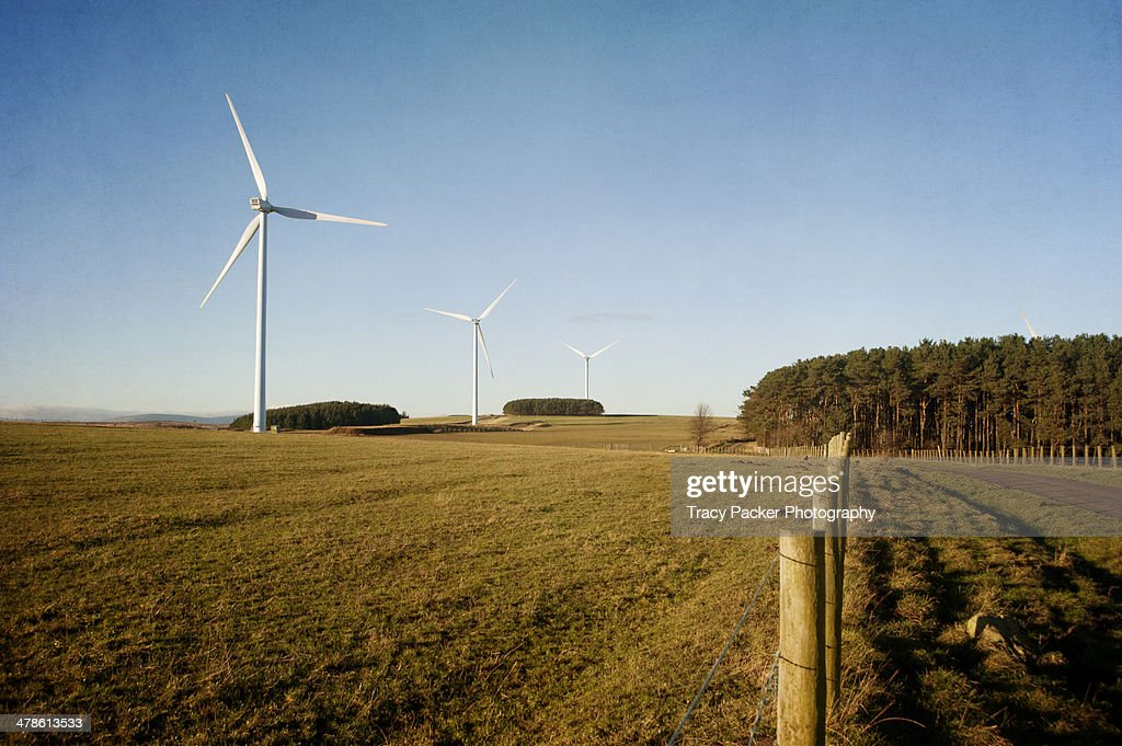 A countryside wind farm on a sunny day : Stock Photo