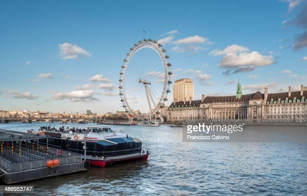 County hall and London Eye Ferris wheel