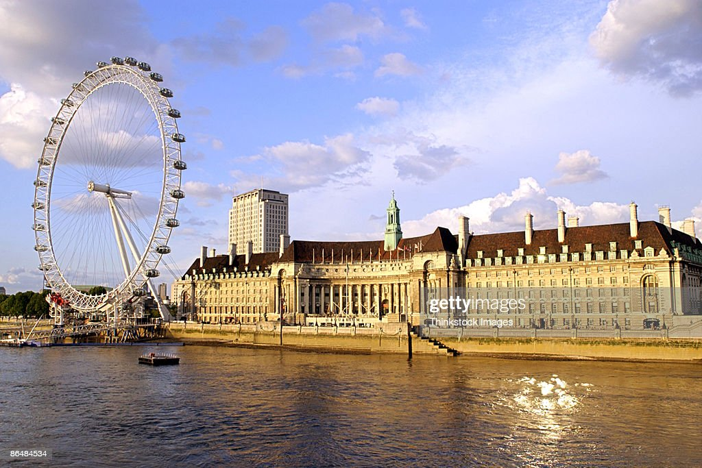 County Hall with the London Eye and River Thames
