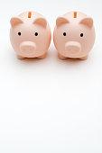 Couple Finances, Two Piggy Banks on white