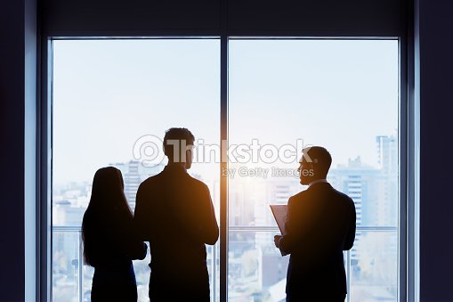 Couple and real estate agent window deal concept : Stock Photo