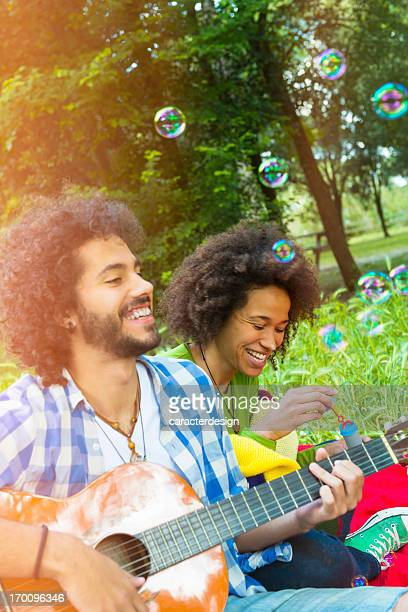 Couple and spring fun outdoors