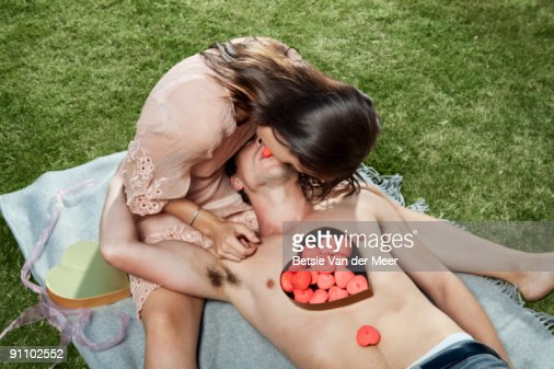couple are sharing sweets. : Stock Photo