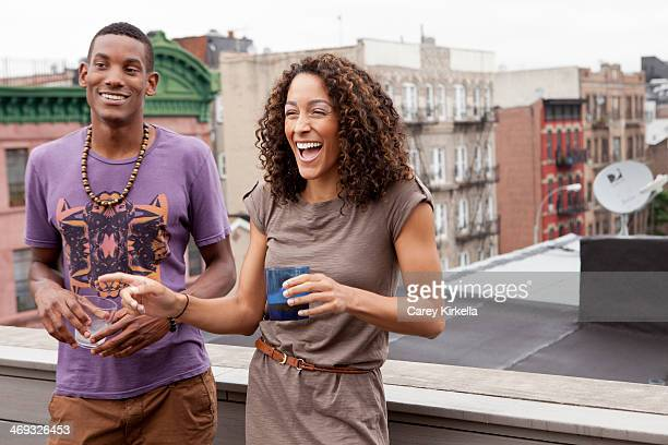 Couple at a roof party