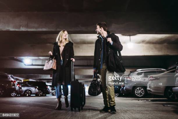 Couple at Airport Parking Garage