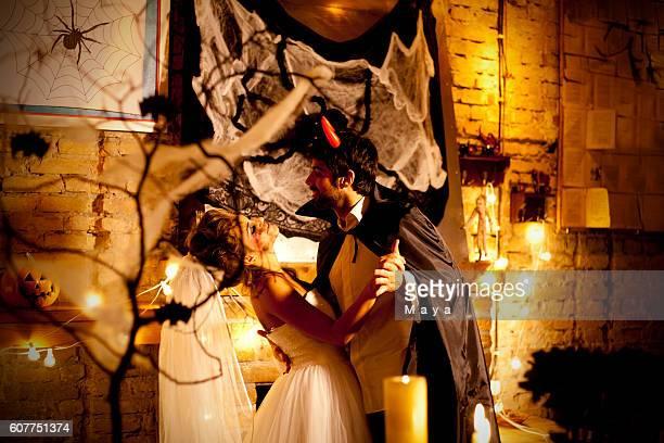 Couple at Halloween night
