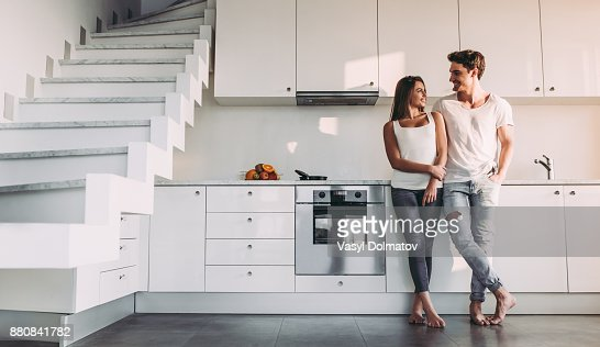 Couple at home. : Foto de stock