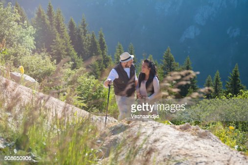 Couple at mountain : Stock Photo