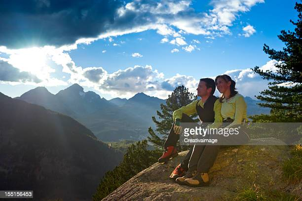 Couple at mountain sunrise