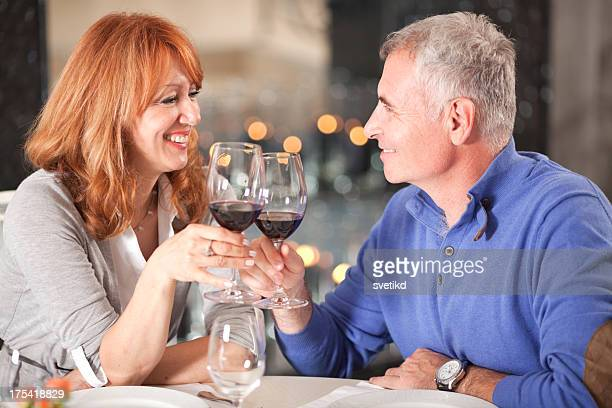 Couple at restaurant.