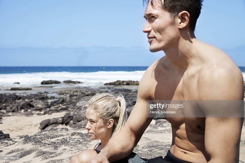 Couple at the beach : Stock Photo