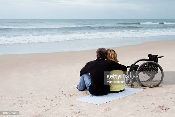 Couple at the Beach - with Wheelchair
