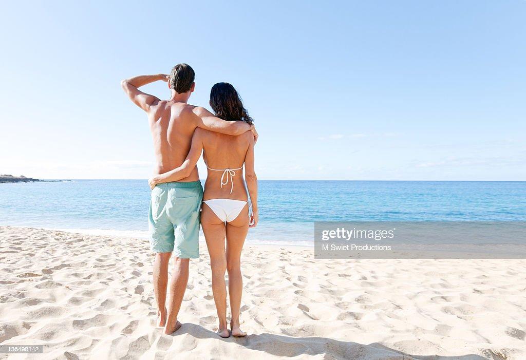 Couple beach standing : Stock Photo