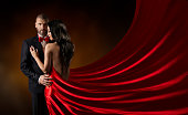 Couple Beauty Portrait, Man in Suit Woman in Red Dress, Rich Lady in Gown, Waving Silk Fabric