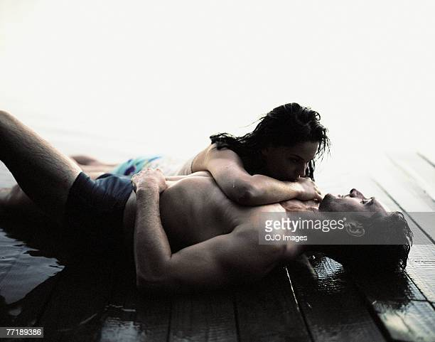 A couple being affectionate outdoors