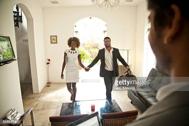 Couple being welcomed on arrival