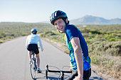 Couple bike riding in remote area