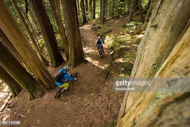 Coppia in bicicletta in una foresta vergine