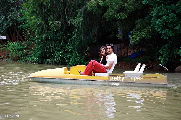 A couple boating
