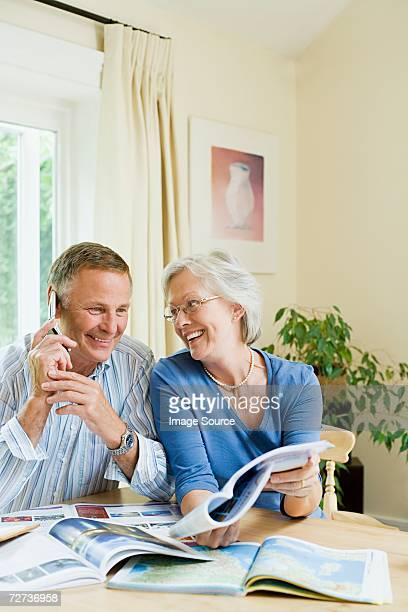 Couple booking a holiday