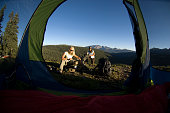 Couple camping in the San Juan Mountains