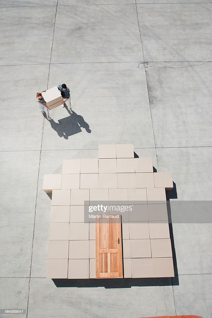 Couple carrying box : Stock Photo