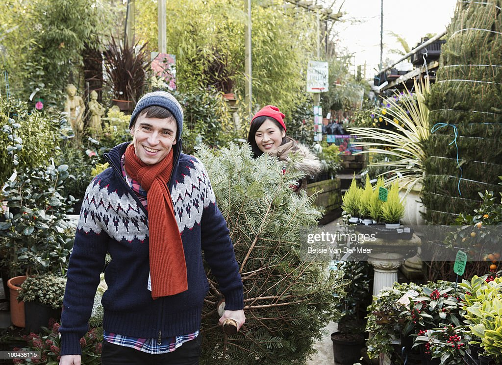 Couple carrying christmastree out of gardencentre. : Stock Photo