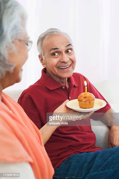 Couple celebrating birthday