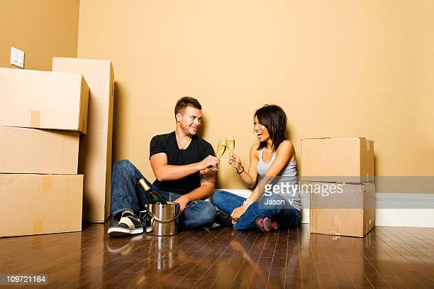 Couple celebrating moving