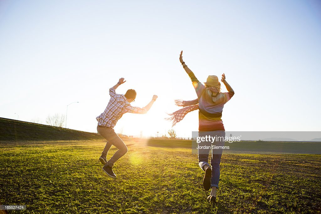 A couple celebrating. : Stock Photo