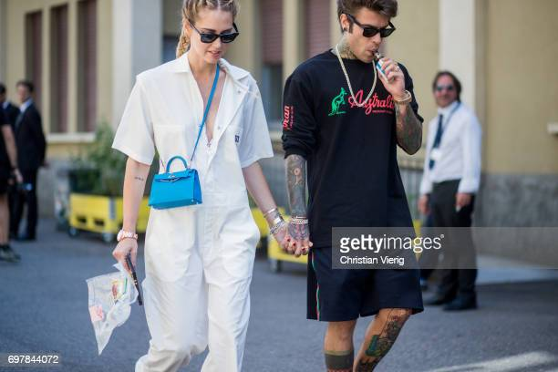 Couple Chiara Ferragni wearing a white jumpsuit and Federico Leonardo Lucia is seen outside GCDS during Milan Men's Fashion Week Spring/Summer 2018...
