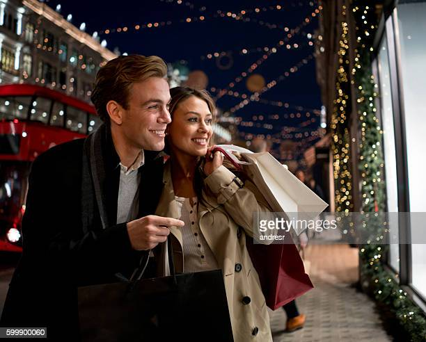 Couple Christmas shopping in London
