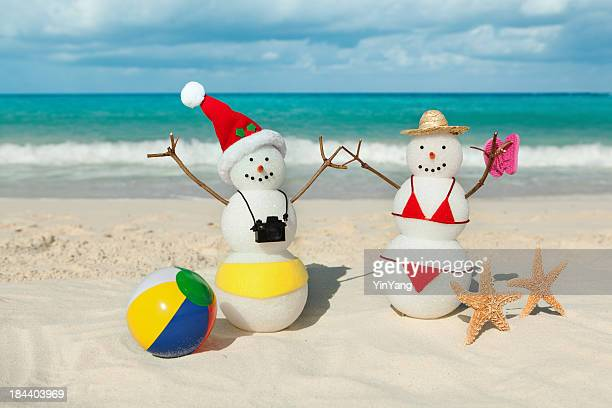 Couple Christmas Vacation in Tropical Beach of Caribbean Sea
