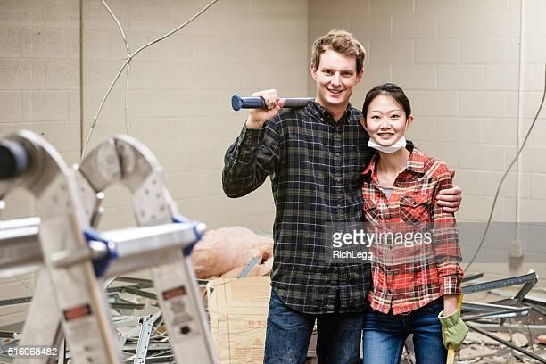 Coppia di costruzione lavoratori