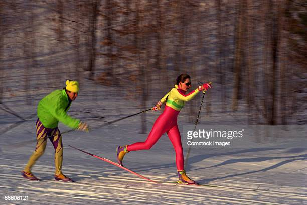 Couple cross country skiing