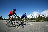 Couple cycling in Grand Tetons.