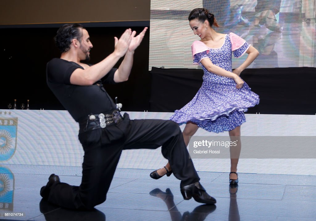 A couple dances Folcklore during the final presentation of Argentina-Uruguay Candidacy For FIBA World Cup 2023 at NH Hotel on October 12, 2017 in Buenos Aires, Argentina.