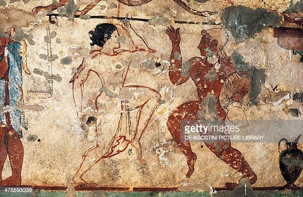 Couple dancing fresco of the Tomb of the Lioness Necropolis of Tarquinia Lazio Italy Etruscan civilisation 6th century BC