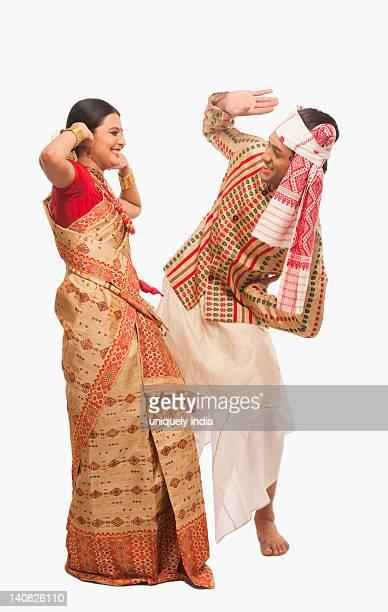 Couple dancing on Bihu festival
