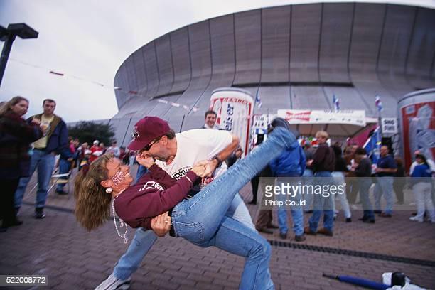 Couple Dancing Outside Superdome