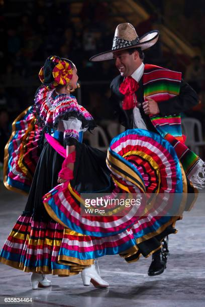 Couple dancing Son de la Negra Mexican folk dance International festival of folk dances El Buen Pastor School municipality of Los Olivos department...