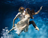 Couple dancing underwater