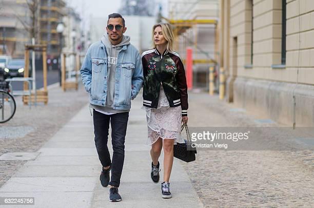 Couple Dima wearing OFF WHITE acid wash denim jacket Neil Barret Jeans Kith Miami Sweatshirt Sneaker Adidas NMD R1 Dior Magnitude Sunglasses and Lisa...