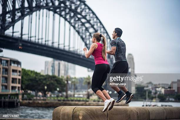 Couple doing exercise in Sydney