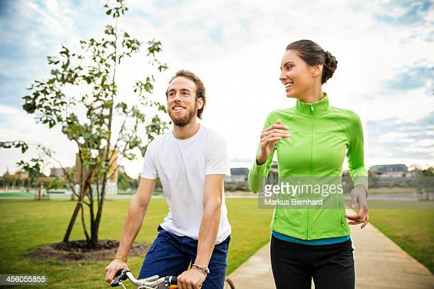 Couple doing sports in the morning