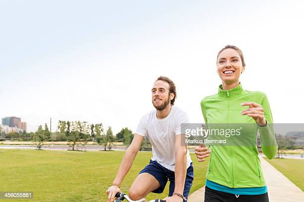 Couple doing sports together