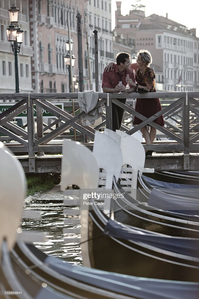 Couple drinking chamagne over Canal Di San Marco : Stock Photo