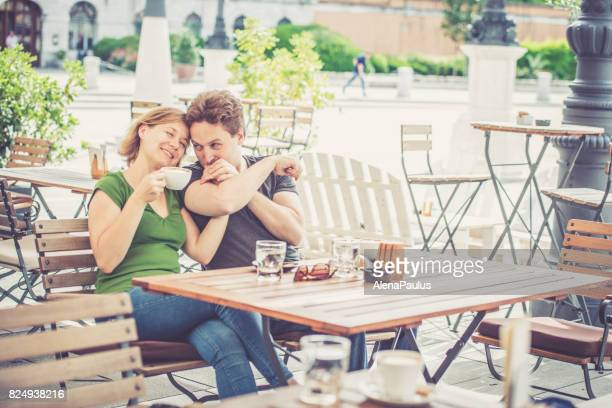 Couple drinking italian cappuccino