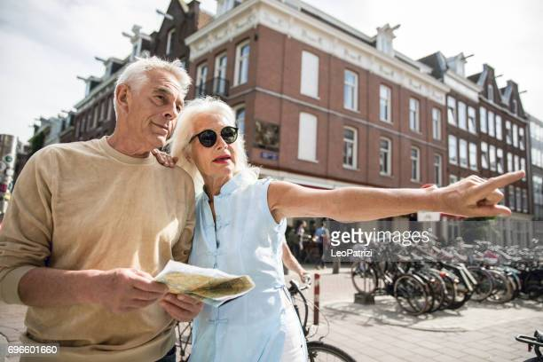 Couple during a vacation, discovering Amsterdam