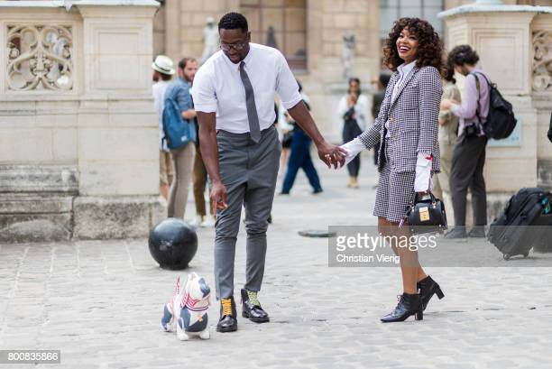 Couple Dwyane Wade and Gabrille Union outside Thom Browne during Paris Fashion Week Menswear Spring/Summer 2018 Day Five on June 25 2017 in Paris...